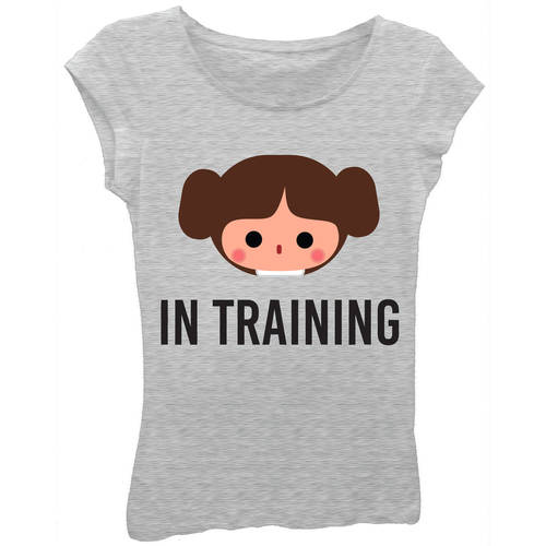"Girls' Princess Leia Emoji ""In Training"" Short Puff Sleeve Graphic Tee T-Shirt With Silver Glitter on Outline"