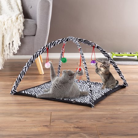 Cat Activity Center- Interactive Play Area Station for Cats, Kittens With Fleece Mat, Hanging Toys, Foldable Design for Exercise, Napping by