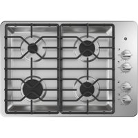 """JGP3030SLSS 30"""""""" Gas Cooktop with 4 Sealed Burners  Precise Simmer Burner  Heavy-Duty Dishwasher Safe Grates  Recessed Cooktop  in Stainless Steel"""