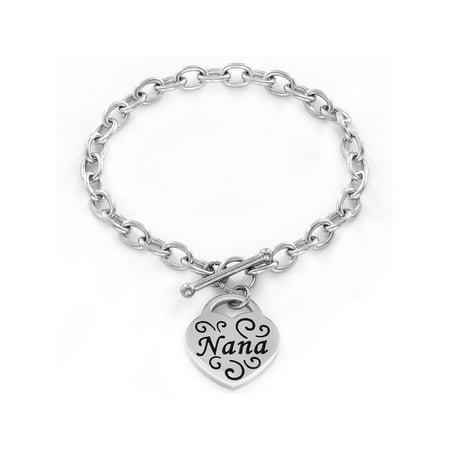 Stainless Steel Engraved 'Nana' Heart Charm Bracelet (5mm) - 7.5