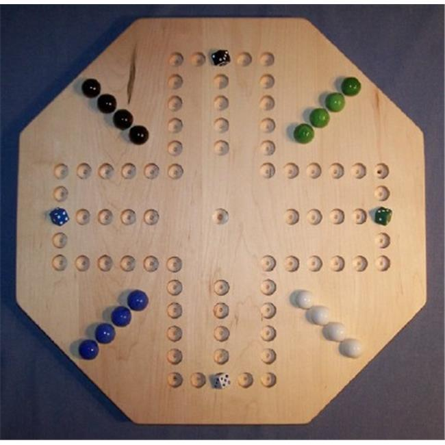 THE PUZZLE-MAN TOYS W-1940 Wooden Marble Game Board - Aggravation - 20 in. Octagon - 4-Player  6-Hole - Hard Maple