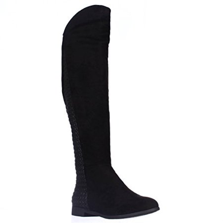 Chinese Laundry Racer Flat Over-The-Knee Boots - Black