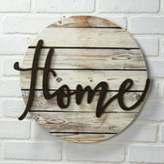 """""""Home"""" Wall Plaque with Farmhouse Embellishments - Sentiment Word Art Sign"""