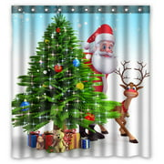 GCKG Christmas Tree Reindeer Xmas Bathroom Shower Curtain, Shower Rings Included 100% Polyester Waterproof Shower Curtain 66x72 Inches