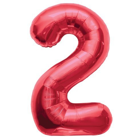 Number 2 - Red Helium Foil Balloon - 34 inch