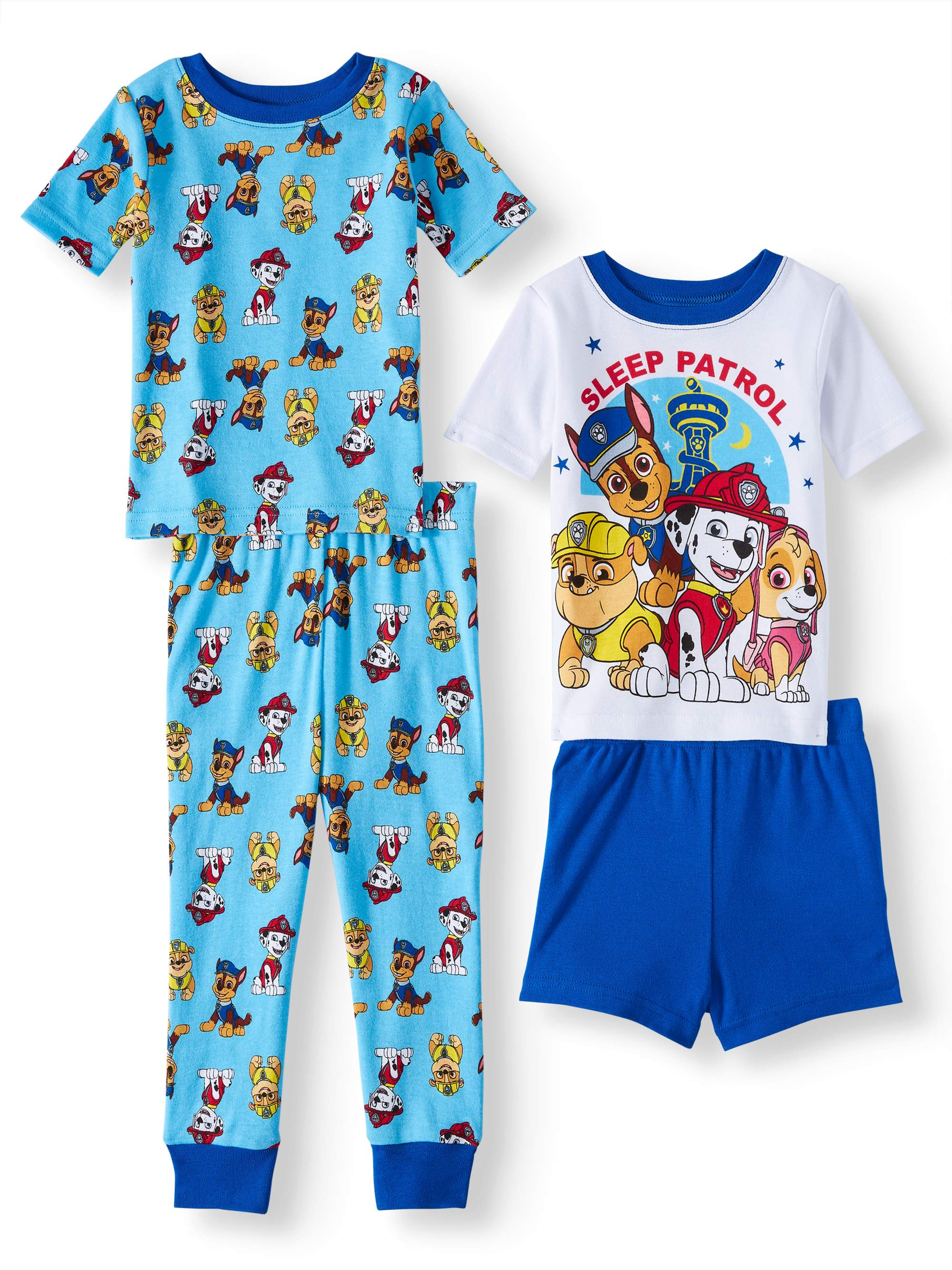 Cotton Tight Fit Pajamas, 4pc Set (Toddler Boys)