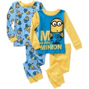 Minions Baby Toddler Boy Long Sleeve Cotton Tight Fit Pajamas, 2-Sets