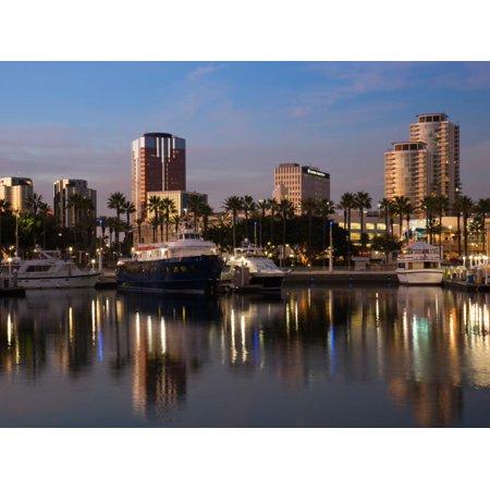 Boats on a Marina at Dusk, Shoreline Village, Long Beach, Los Angeles County, California, USA Print Wall Art