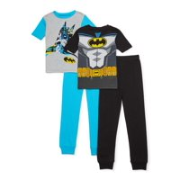 Batman Boys Exclusive 4-10 Cotton Tight Fit Pajamas, 4-Piece Set