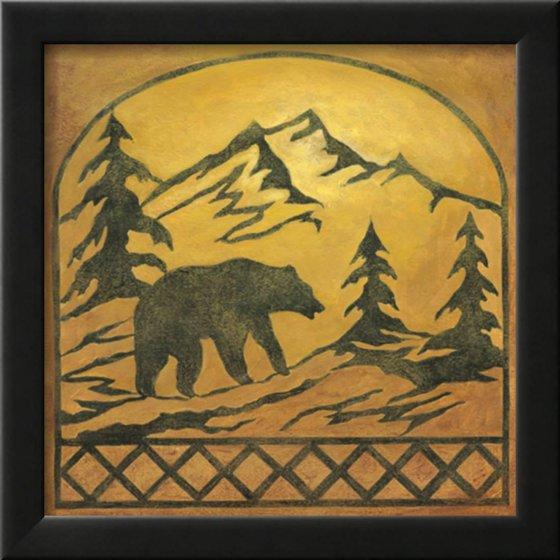 Lodge Bear Silhouette Framed Art Print Wall Art By Chariklia Zarris ...