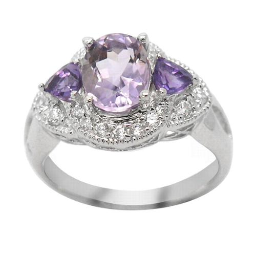 De Buman Sterling Silver 3-stone Amethyst and Cubic Zirconia Ring by Overstock