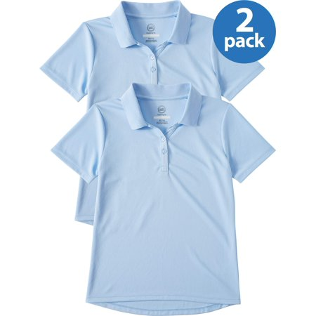 Wonder Nation School Uniform Short Sleeve Performance Polo, 2-Pack Value Bundle (Little Girls & Big Girls)