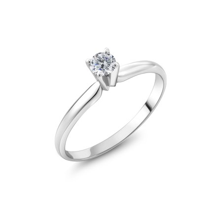 14K White Gold Solitaire Ring 0.25 Ct Round G/H Diamond Ring