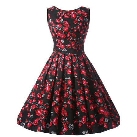 Market In The Box Women Vintage 1950s A Line Sleeveless Retro Rockabilly Prom Dress