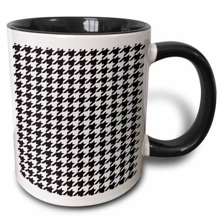 3dRose Black And White Classic Preppy Houndstooth Pattern - Two Tone Black Mug, 11-ounce
