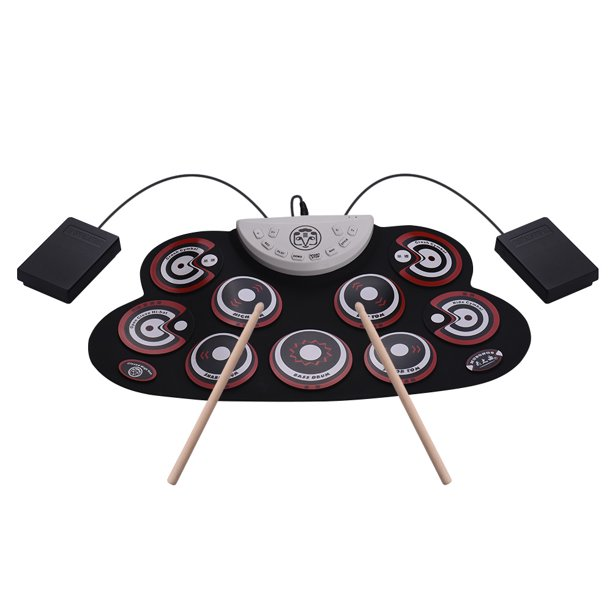 Portable Silicone Drum Pad Electronic Roll Up Drum Set With Drum Sticks Foot Pedals Cartoon Design Digital Drum For Kids Beginners Walmart Com Walmart Com