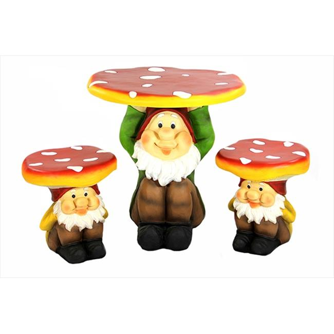 NorthLight Jolly Gnome Table And Chair Novelty Garden Furniture Set - 3 Piece