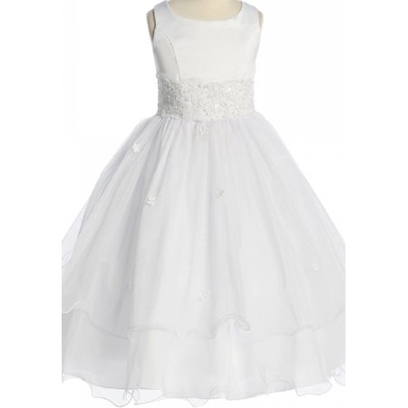 Big Girls' First Communion Lace Trim Tulle Wedding Flowers Girls Dresses White Size - First Communion Dresses Online