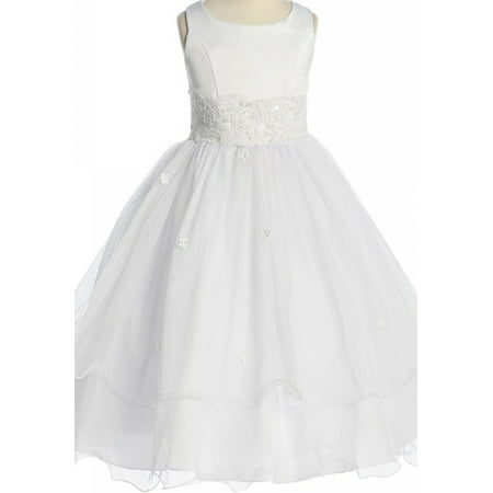 Big Girls' First Communion Lace Trim Tulle Wedding Flowers Girls Dresses White Size 8