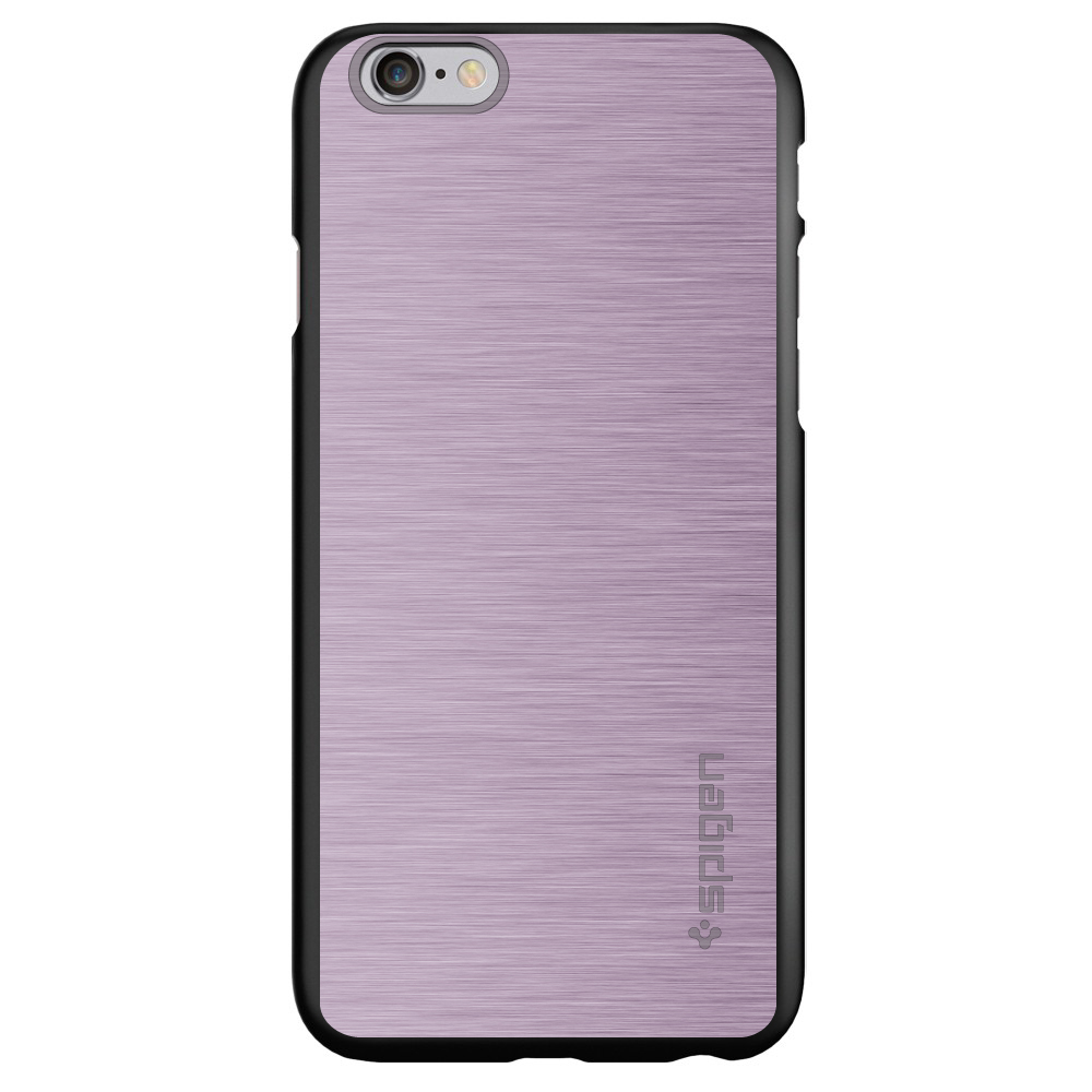 """CUSTOM Black Spigen Thin Fit Case for Apple iPhone 6 / 6S (4.7"""" Screen) - Pink Stainless Steel Print"""