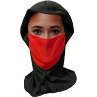 Ninja Hood With Red Fabric Mask Costume Accessory