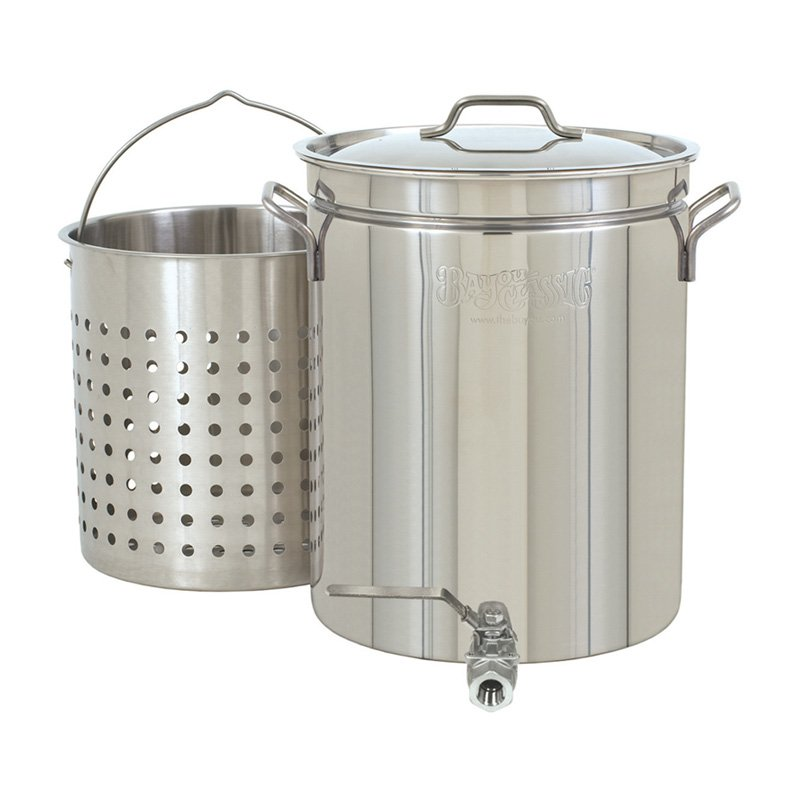 Bayou Classic 10 Gallon Stock Pot with Spigot and Basket