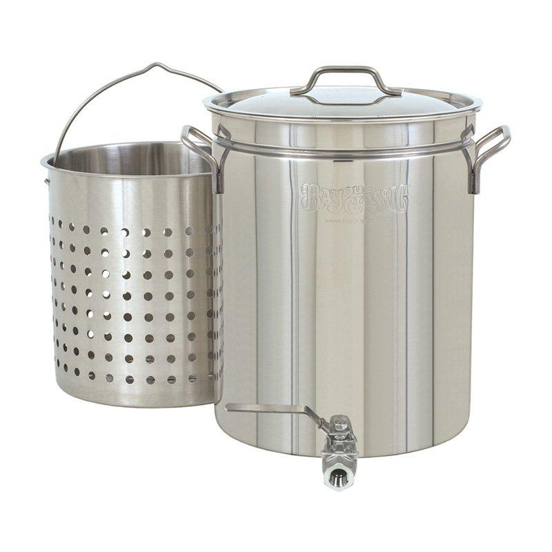 Bayou Classic 10 Gallon Stock Pot with Spigot and Basket