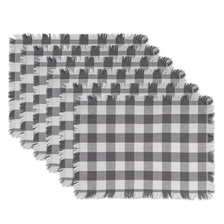 DII Gray Heavyweight Check Fringed Placemat (Set of 6) ()