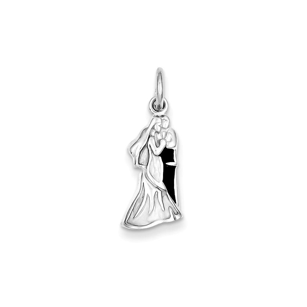 Sterling Silver Rhod Enameled Bride & Groom Pendant