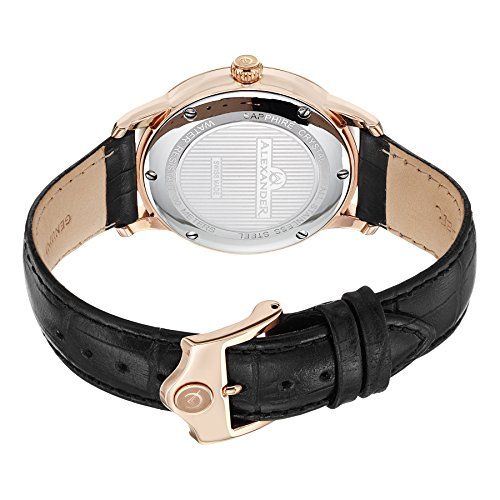 Alexander Statesman Regalia Wrist Watch For Men - Black Leather Analog Swiss Watch - Stainless Steel Plated Rose Gold Watch - Black Dial Date Small Seconds Mens Designer Watch A102-04