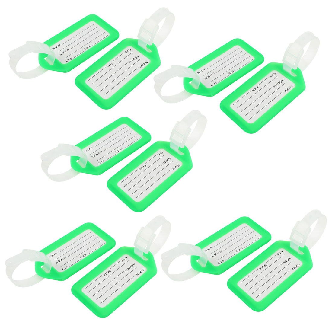Address Message Hard Plastic Baggage Backpack Luggage Tag Green White 10 Pcs