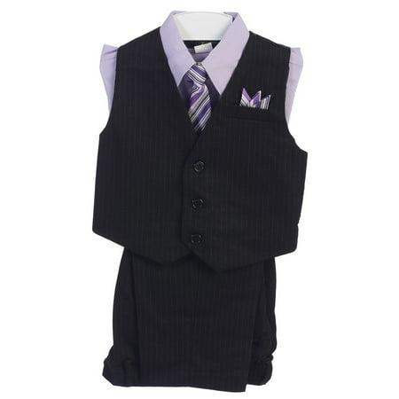 Boys Lilac 4 Piece Pin Striped Vest Set Suit (Lilac Stripe Suit)