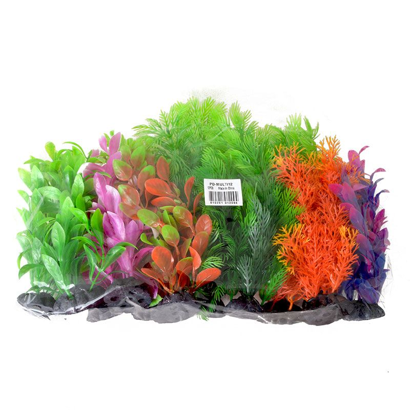 Aquatop Plastic Aquarium Plants Power Pack - Assorted Colors 12 Pack - (7 High Plants) - Pack of 3