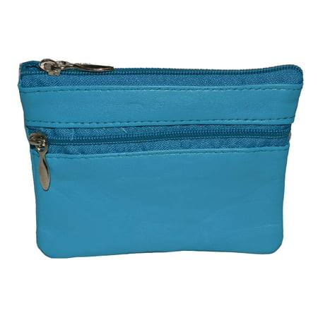 Leather Coin Purse / Mini Wallet / Key Pouch - 2 Zippered Sections ()