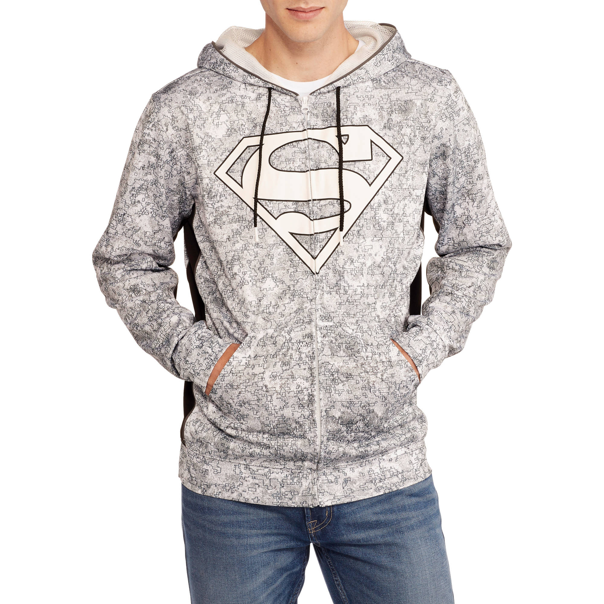 Superman Men's Sublimated Applique Shield Poly Hoodie