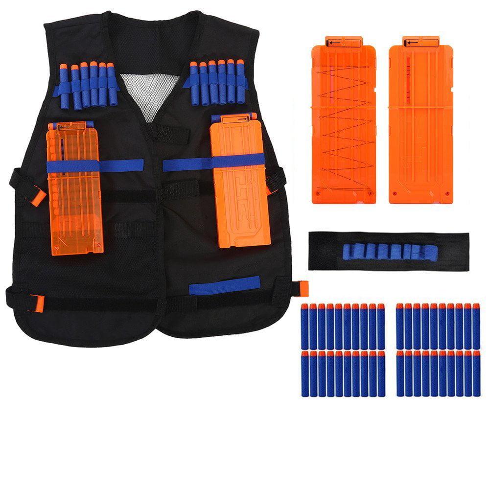 Tactical Vest Kit,Kids Elite Tactical Vest Kit For Nerf Gun N-strike Elite Series with 40Pcs foam bullets,2Pcs darts... by