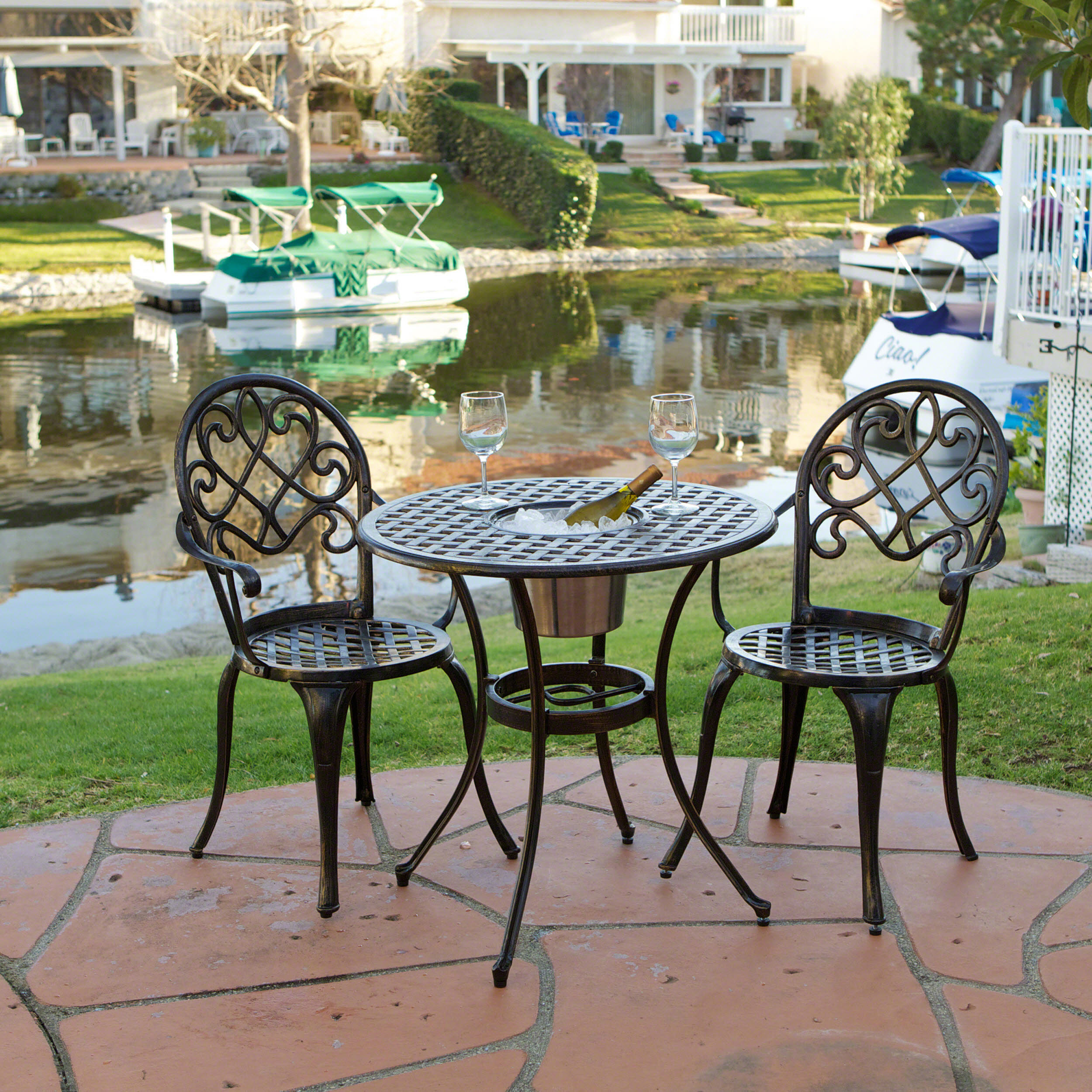 Pisa Cast Aluminum Outdoor Bistro Furniture Set With Ice Bucket