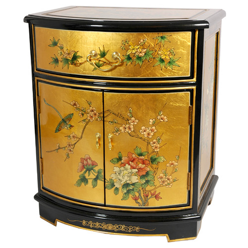 Oriental Furniture Leaf Round Front Shoe Storage Cabinet