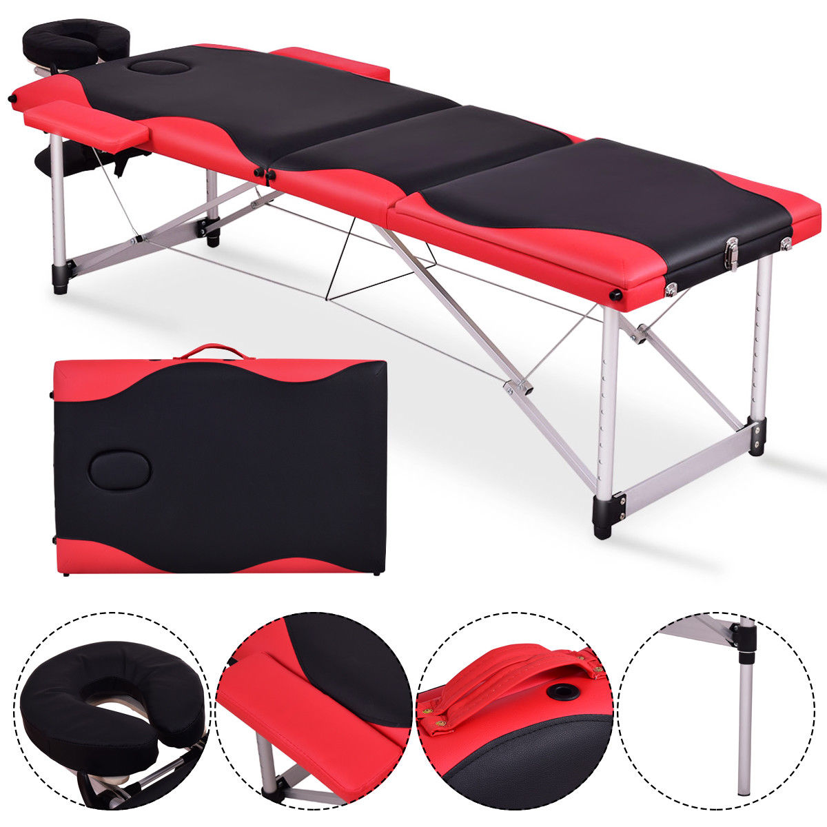 Gymax Portable Massage Table 72''L Aluminum Facial SPA Bed Tattoo w/Free Carry Case