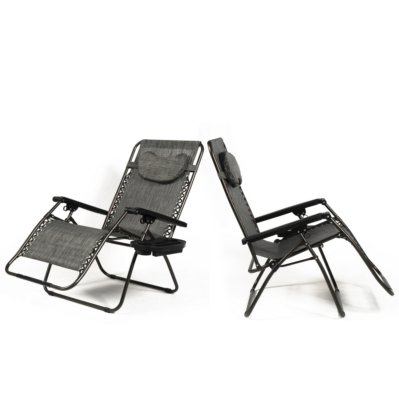 Belleze XL Oversized Zero Gravity Chairs Sets Of (2) Foldable Recliner Lounge Padded with Pillow Tray Holder, Gray