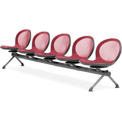 OFM NET Series Beam Seating with 5 Chairs, Black