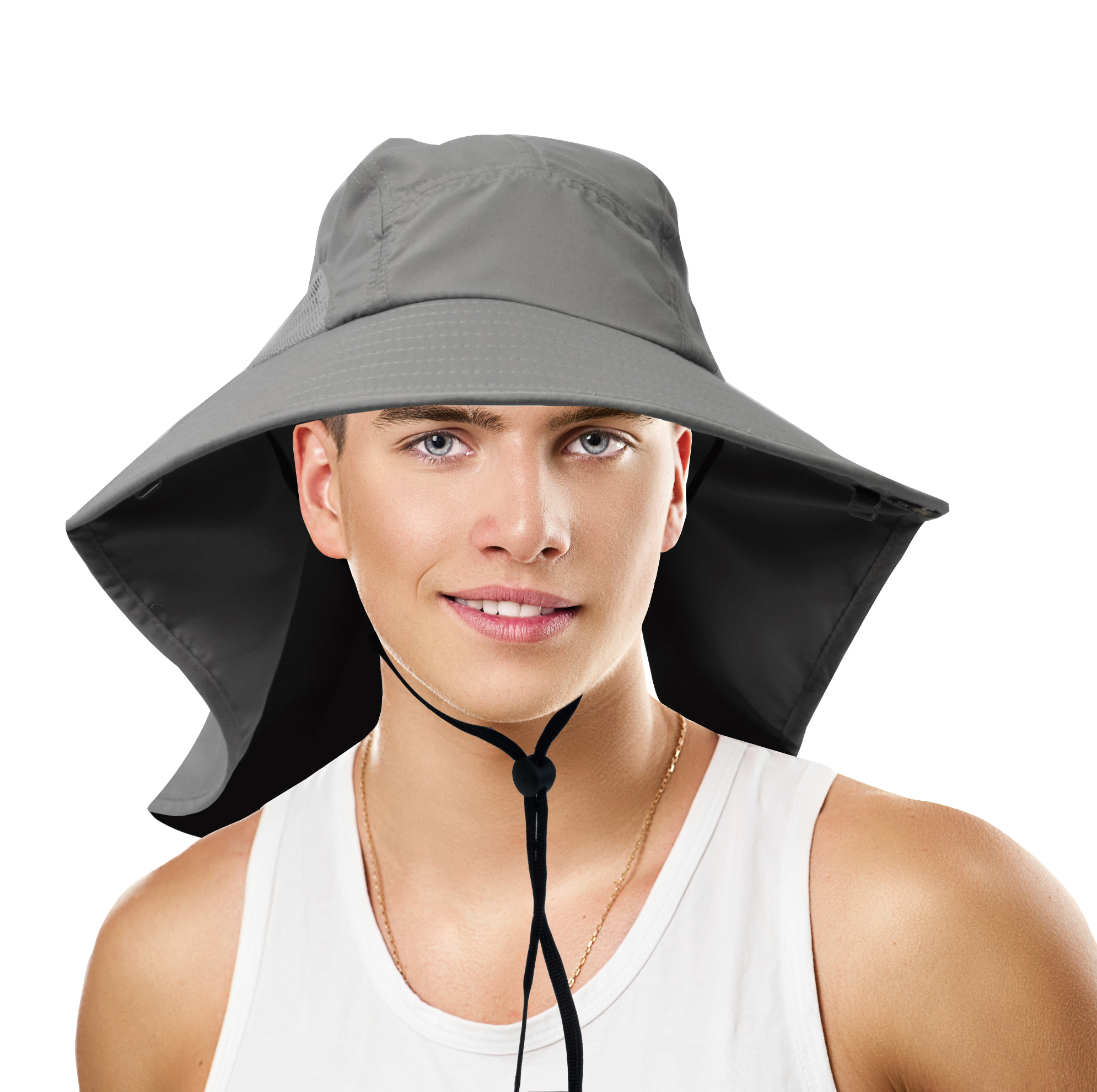 Safari Outdoor Sun Hat for Fishing Hiking Hunting Boating Large Unisex Bill Sun Hat with Neck Flap by Sun Blocker