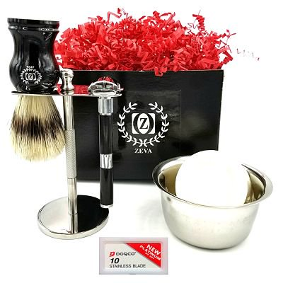 Mens Shaving Kit Gift Set for Men DE Safety Razor Butterfly Opening Drip  Stand with Pure Badger Brush with 10 Dorco Blades