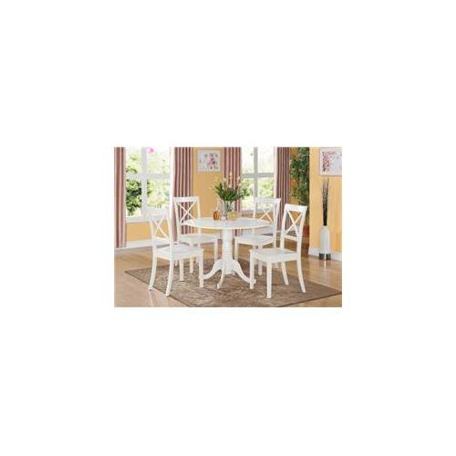 East West Furniture Dlbo5 Whi W 5pc Kitchen Round Table