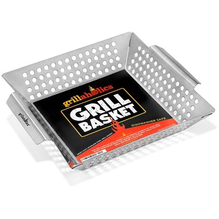 Grillaholics Grill Basket, Best in Barbecue Grilling Accessories, Grill BBQ Veggies on Gas or Charcoal Grills with this Stainless Steel Vegetable Grill Basket Grillaholics Grill Basket, Best in Barbecue Grilling Accessories, Grill BBQ Veggies on Gas or Charcoal Grills with this Stainless Steel Vegetable Grill Basket