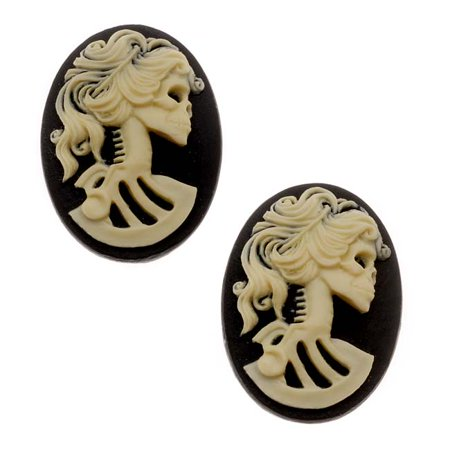 (Lucite Oval Cameo Black With Cream Lolita Skeleton 18x 25mm (2 Pieces))