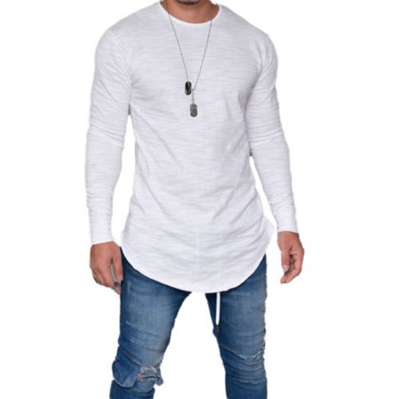 Summer Mens T-Shirts Fashion Casual Slim Elastic Soft Solid Long sleeve Round Collar T-Shirts Plus Size