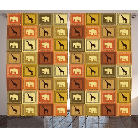 Safari Decor Curtains 2 Panels Set, African Animals Pattern Silhouette Exotic Fauna Frame Vintage Design Illustration, Living Room Bedroom Accessories, Gift Ideas, By Ambesonne - Safari Ideas