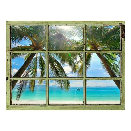 Tropical Wall Decor - Window View Wall Mural - Palm Tree and Calm Tropical Sea - Vintage Style Wall Decor - Peel and Stick Adhesive Vinyl Material - 36x48 inches
