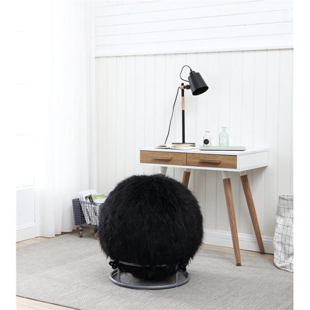 Posture Ball Chair - GoodGram Premium Posture Fuzzy Exercise Yoga Ball Chair Set - Black